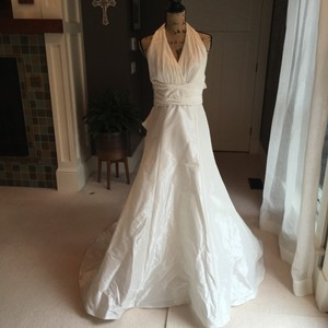 Amsale White Tafetta Halter Style Gown Traditional Wedding Dress Size 10 (M)