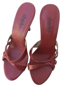 Charles David Mules Slides Red Sandals