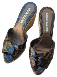 Via Spiga Wedges Platform Sandals Black and Brown Mules