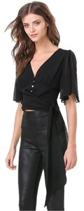 bebe Flutter Sleeve Crop Button Down Blouse Top Black