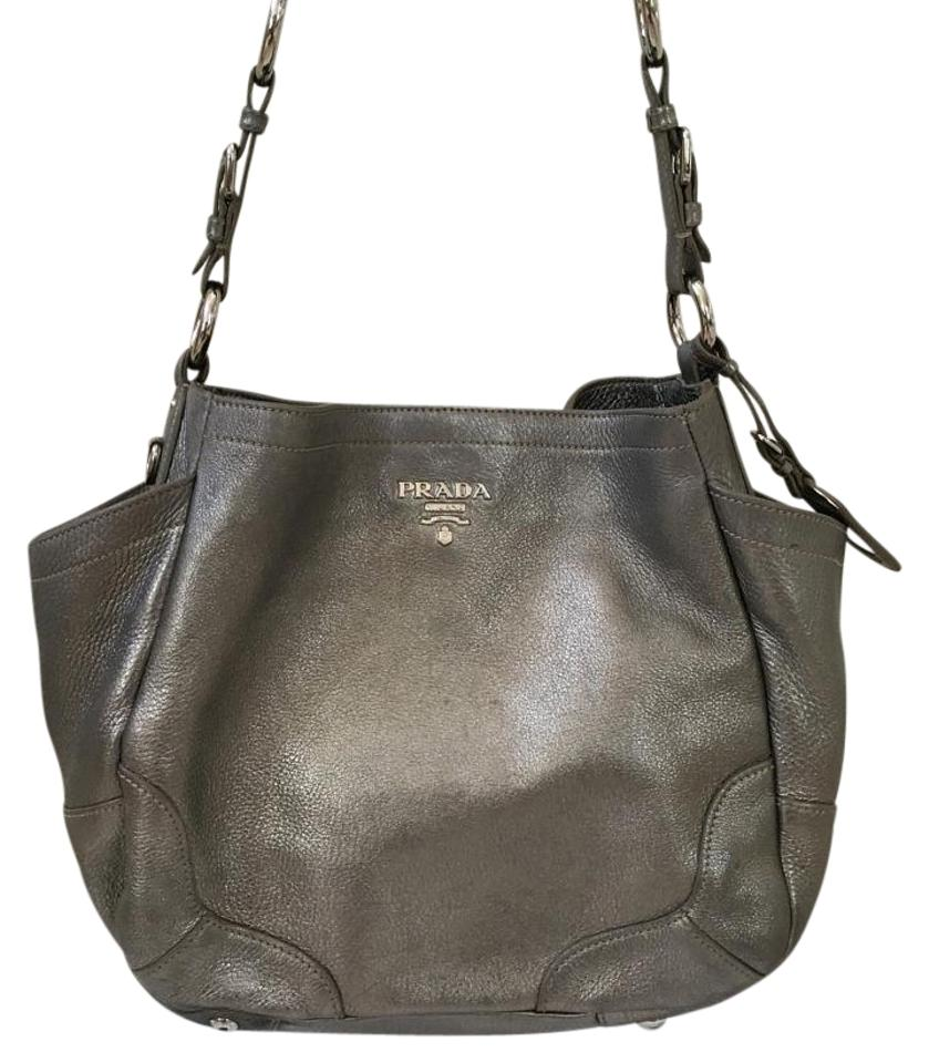 3dda5355d87ded Prada Vitello Daino Silver Leather Hobo Bag - Tradesy