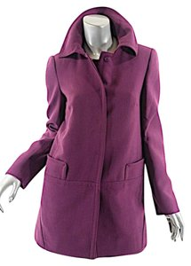 Alberta Ferretti ALBERTA FERRETTI Plum 100% Virgin Wool Crepe Dress & Jacket
