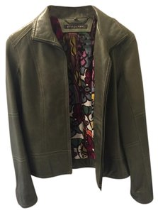 Andrew Marc Leather Moss Green Jacket