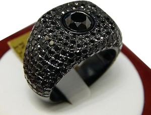 Mens,Black,Diamonds,Solitaire,Pinky,Ring,7.67,Ct