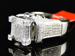 Jewelry Unlimited White Ladies Gold Finish3d Pave Diamond Engagement Band 1.1 Ct Ring