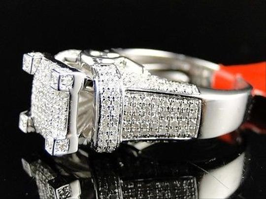 Jewelry Unlimited White Ladies Gold Finish3d Pave Diamond Engagement Band 1.1 Ct Ring Image 1