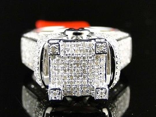 Jewelry Unlimited White Ladies Gold Finish3d Pave Diamond Engagement Band 1.1 Ct Ring Image 2