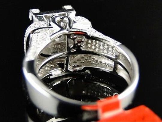 Jewelry Unlimited White Ladies Gold Finish3d Pave Diamond Engagement Band 1.1 Ct Ring Image 3