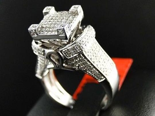 Jewelry Unlimited White Ladies Gold Finish3d Pave Diamond Engagement Band 1.1 Ct Ring Image 4