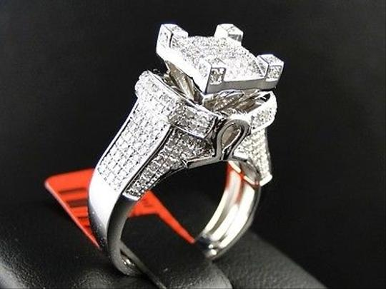 Jewelry Unlimited White Ladies Gold Finish3d Pave Diamond Engagement Band 1.1 Ct Ring Image 5