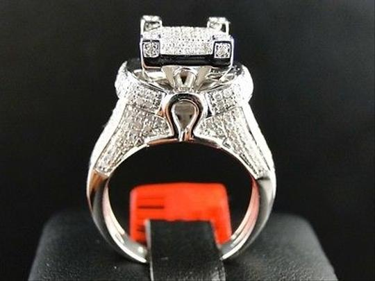 Jewelry Unlimited White Ladies Gold Finish3d Pave Diamond Engagement Band 1.1 Ct Ring Image 6