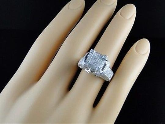 Jewelry Unlimited White Ladies Gold Finish3d Pave Diamond Engagement Band 1.1 Ct Ring Image 7
