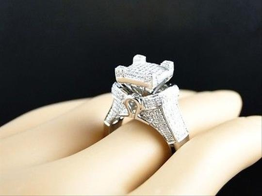 Jewelry Unlimited White Ladies Gold Finish3d Pave Diamond Engagement Band 1.1 Ct Ring Image 8