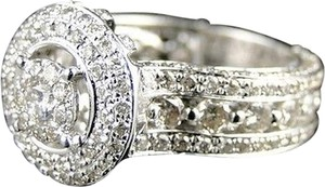 Womens,14k,White,Gold,Round,Cut,Designer,Diamond,Bridal,Engagement,Ring,2.85,Ct