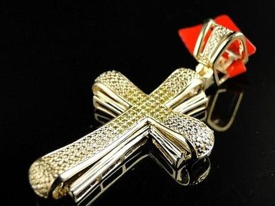 Other ,Mens,Yellow,Gold,Finish,Genuine,Yellow,Diamond,Cross,Charm,Pendant,12,Ct