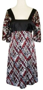 Trina Turk Kimono Geometric Empire Waist Silk Dress