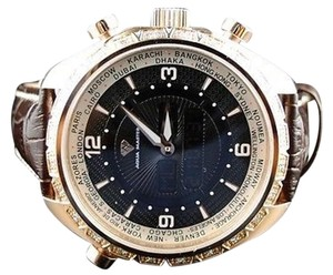 Mens Aqua Master Joe Rodeo Rose Gold World White Diamonds Watch W326 .75 Ct