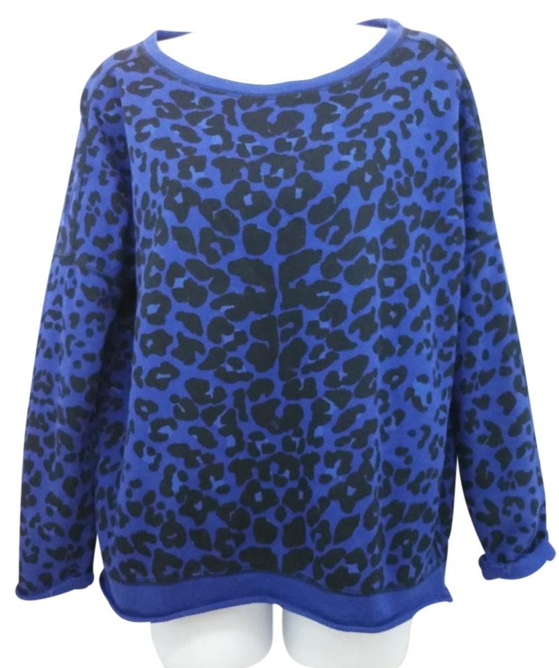 Maje Animal Print Blue and Black Terry Cotton Sweater - Tradesy 43fb1d42e
