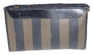 Fendi Dressy Or Casual pequin wide stripe print coated canvas and dark brown leather Clutch