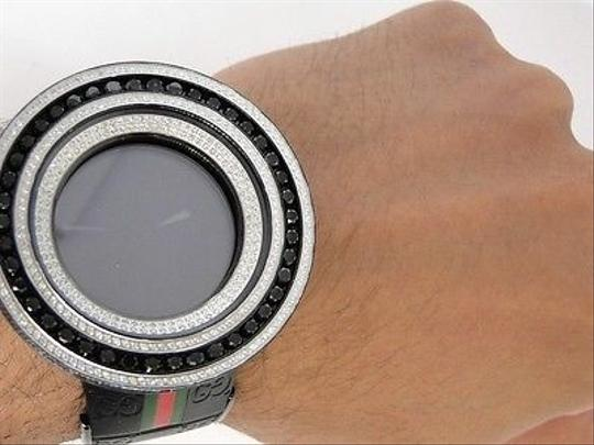 Gucci Mens 52mm Bezel I Gucci Digital Black And White Diamond Watch 18.5 Ct Image 7
