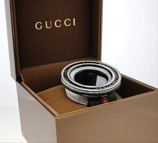 Gucci Mens 52mm Bezel I Gucci Digital Black And White Diamond Watch 18.5 Ct