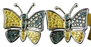 Other Ladies,Butterfly,Shape,Diamond,Multi,Stud,Earrings,.75c