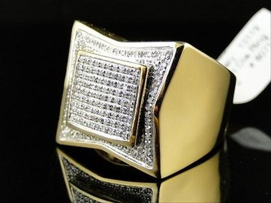 Other Mens,Xl,Yellow,Gold,Finish,Genuine,Diamond,Pave,Pinky,Fashion,Band,Ring,1.0,Ct Image 1