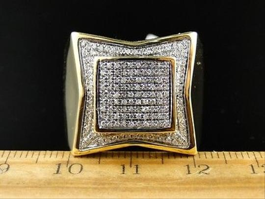 Other Mens,Xl,Yellow,Gold,Finish,Genuine,Diamond,Pave,Pinky,Fashion,Band,Ring,1.0,Ct Image 4
