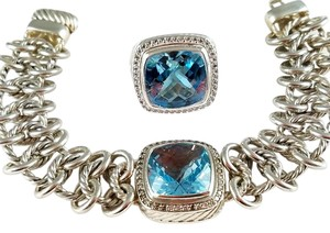 David Yurman David Yurman SS Diamond Blue Topaz Link Bracelet and Matching Ring