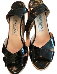 Jimmy Choo Espadrille Ankle Strap Platforms Black Wedges
