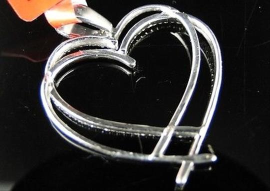 Other ,.925,White,Gold,Finish,Genuine,Diamond,Dual,Heart,Pendant,Charm,0.30,Ct