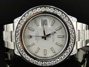 Rolex Mens Rolex Datejust Ii White Dial Genuine Diamond Watch Ct