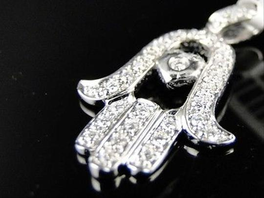 Other 14k,Ladies,White,Gold,Mini,Genuine,Diamond,Jewish,Hamsa,Pendant,12,Ct