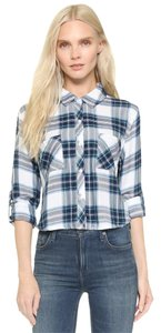 Rails Rian Cropped Plaid Button Down Shirt White/Jade/Navy
