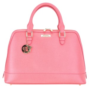 Versace Collection Gold Tone Hardware Satchel in Coral