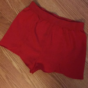 Forever 21 Scalloped Night Out Dress Shorts Red