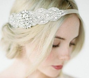 Vitoria Wedding Bridal Headpiece Crystal Headband Headpiece Satin Ribbon Rhinestome Headband