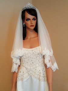 Bridal Light Ivory 2 Tier Elbow Length Veil With Metal Comb