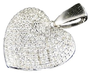 10k,White,Gold,Ladies,Puffed,Heart,Pave,Set,Clear,Diamond,Pendantcharm,34,Ct