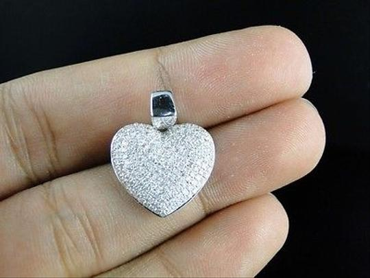 Other 10k,White,Gold,Ladies,Puffed,Heart,Pave,Set,Clear,Diamond,Pendantcharm,34,Ct