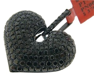Ladies,Puffed,Heart,Black,Diamond,Pendantcharm,3.66,Ct