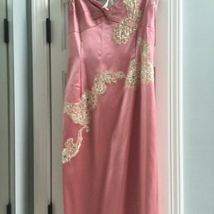 Papell Boutique Romantic Lace And Beads Satin Dress
