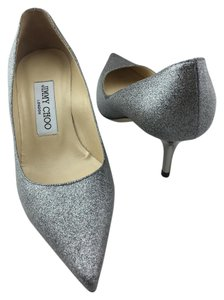 Jimmy Choo Glitter Pointy Pump Aurora Silver Pumps