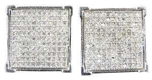 ,Men,Or,Ladies,14,Mm,4,Prong,Genuine,Diamond,Pave,Stud,Earrings,0.75,Ct