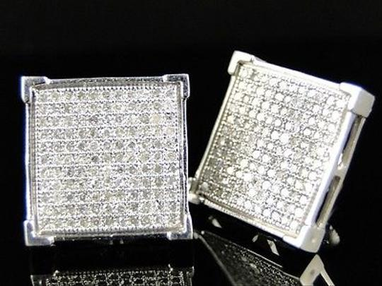 Other ,Men,Or,Ladies,14,Mm,4,Prong,Genuine,Diamond,Pave,Stud,Earrings,0.75,Ct