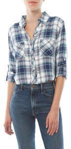 Rails Rian Cropped Plaid Button Down Shirt White/Navy/Jade