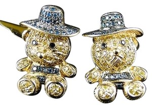 Yellow,Gold,10k,Pave,Teddy,Bear,Cartoon,Multi,Color,Diamond,Stud,Earrings,1.2,Ct