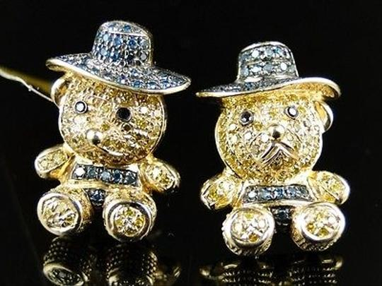 Other Yellow,Gold,10k,Pave,Teddy,Bear,Cartoon,Multi,Color,Diamond,Stud,Earrings,1.2,Ct