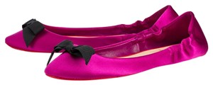 Christian Louboutin Air Loubi Round Toe Satin Purple, Black Flats