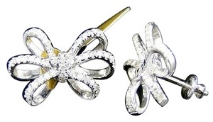White,Gold,10k,Genuine,Diamond,Bow,Ribbon,Stud,Earrings,1.0,Ct